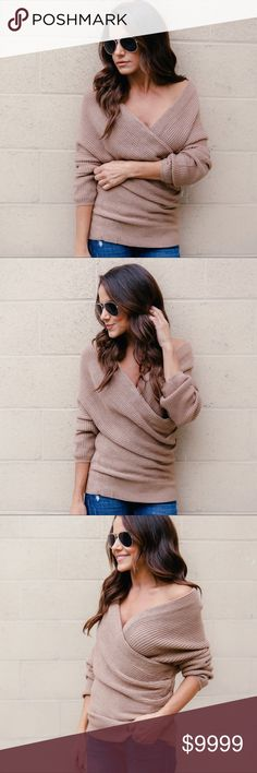 COMING SOON‼️ Beige Wrap Sweater This gorgeous wrap sweater is perfect for dressing it up or down this Holiday Season. A ribbed style sweater that drapes beautifully and can either be worn on or off the shoulder. 80% Acrylic 20% Cotton. Pre order and save 10%. Priced at $54. Sweaters