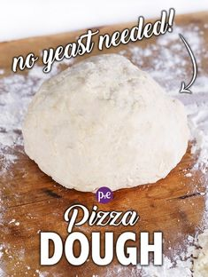 With just 20 minutes of prep and 5 ingredients, this pizza dough is ready to be put in the oven! No yeast, rising or waiting is required and it produces a perfect pizza every time! Pizza Cool, Quick Pizza, No Yeast Pizza Dough, Best Pizza Dough, No Rise Pizza Dough, Self Rising Pizza Dough Recipe, Easy Pizza Dough Recipe, Recipes, Deserts