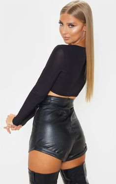 The Black Slinky Multiway Crop Top. Head online and shop this season's range of tops at PrettyLittleThing. Leather Outfits, Leather Shorts, Fashion Women, Women's Fashion, Fashion Outfits, Leather Catsuit, Hot Pants, Black Magic, Most Beautiful Women