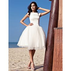 Ball Gown Bateau Knee-length Satin Tulle Wedding Dress inspired by Audrey Hepburn Funny Face – USD $ 146.99