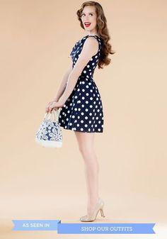 The Pennsylvania Polka Dress in Navy Dots   Mod Retro Vintage Dresses   ModCloth.com