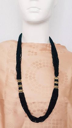 Vintage 70's Black jet glass seed bead multi strand necklace with gold and silver tone metal spacer accents