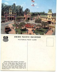 VINTAGE UNION PACIFIC RAILROAD DISNEYLAND POST CARD EARLY PARK PICTURE | eBay