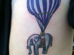 Elephant Balloon Ride tattoo - http://99tattoodesigns.com/elephant-balloon-ride-tattoo/