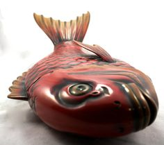 Vintage Japanese Red Wood Carved Fish Dish by LuckySevenVintage, $32.00