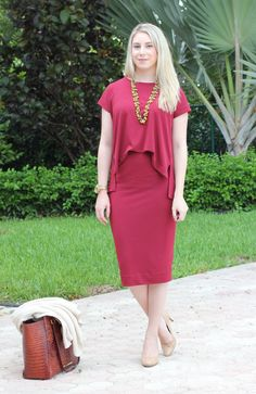 Red jersey dress, business casual