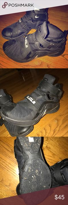 Nike LeBron Zoom Soldier 9 Blackout Great condition besides messed up shoelace on one. Only worn twice, like new Nike Shoes