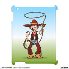 Cowboy with a lasso cover for the iPad #Zazzle #Cardvibes