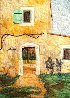 The Sunshine House ~ Art Quilt by Bozena Wojtaszek, Provence, Quilting Projects, Quilting Designs, Art Quilting, Quilt Art, Fiber Art Quilts, Landscape Art Quilts, Fabric Postcards, Thread Painting, Mellow Yellow