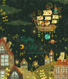 Flying Ship by Megumi Inoue Art And Illustration, Illustrations And Posters, Vida Natural, Storyboard, Book Design, Cute Art, Illustrators, Graphic Art, Creations
