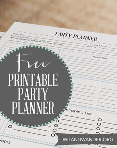 Grab this great FREE Party Planner Printable Checklist to help you organize your ideas and plan a great party any time of year!  witandwander.org