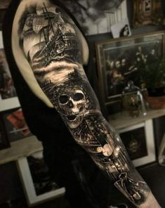 125 Best Arm Tattoos For Men: Cool Ideas + Designs Guide) - Amazing Skull Pirate Full Arm Tattoos – Best Arm Tattoos For Men: Cool Upper, Lower, Inner, Front - Pirate Tattoo Sleeve, Ship Tattoo Sleeves, Pirate Skull Tattoos, Nautical Tattoo Sleeve, Pirate Ship Tattoos, Skull Sleeve Tattoos, Best Sleeve Tattoos, Skull Pirate, Pirate Themed Tattoos