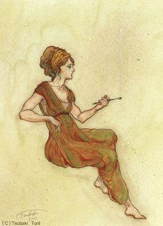 鳥居椿 「ギリシア風を装う女」 2011 鉛筆、水彩/紙