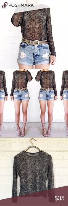 Express sheer snakeprint top So chic and on trend! Love this! No trades. Open to offers.  stretchy! Express Tops