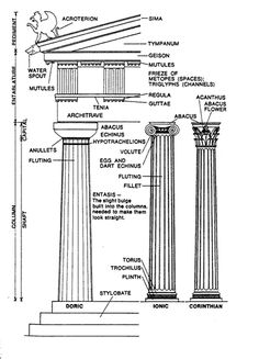 Greek Architecture Drawing greek architecture: parts of a column: | 배경 디자인 | pinterest