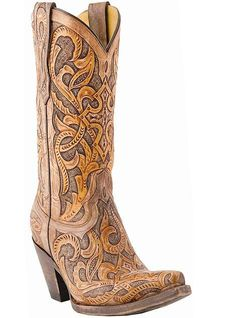 Lucchese 1883 M5010 Western Hand Tooled Las Cruces Caramel