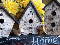 Modge Podged bird houses.