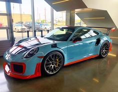 """According to the uploader, this car joins an """"incredible collection of Gulf Blue cars, including a very highly optioned 911 R"""" Porsche 911 Gt2 Rs, Porsche Cars, Sexy Cars, Hot Cars, My Dream Car, Dream Cars, 911 R, Upcoming Cars, Mc Laren"""