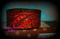 Hand Carved Genuine Leather Cuff Bracelet by ShotgunAnniesleather on Etsy