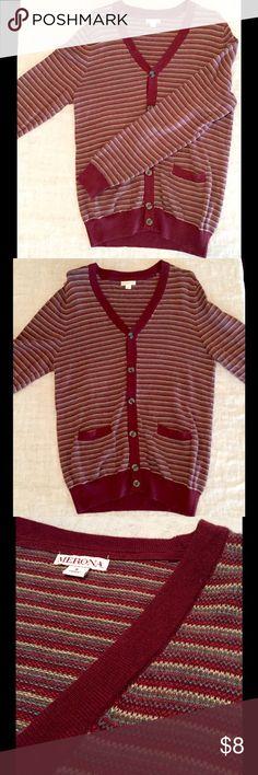 Merona Maroon Cardigan Marina Maroon Cardigan.  Size: Small.  Like New condition.  Never worn. Merona Sweaters Cardigan