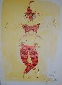 Rare Bjorn Wiinblad Print The Siamese Dancer by RetroRubyRaspberry