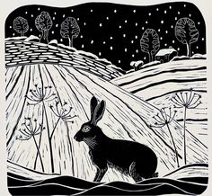 hares in snow lino prints - Google Search