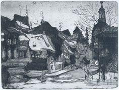 """Hans Körnig hat das Motiv """"alte Salzgasse""""  mehrmals und mit unterschiedlichen Techniken umgesetzt. Vorbild für seine Arbeit war ein Ölgemälde von 1929.  """"Die alte Salzgasse in Dresden, 1953, Radierung (Aquatinta)"""