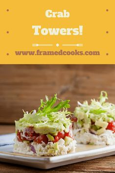 This recipe for crab towers is your answer to the easy to make but super dramatic appetizer or first course. Or for a fancy light lunch! Egg Free Recipes, Healthy Recipes, Salad Recipes, Seafood Recipes, Seafood Appetizers, Appetizer Recipes, Dinner Recipes, Lunch Menu, Crab Cakes