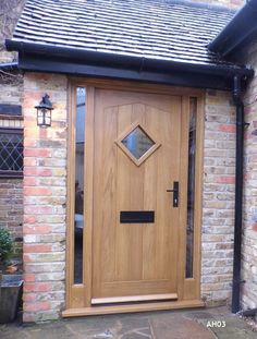 oak door angled head with diamond vision panel and narrow sidelights