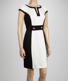 Love this Sandra Darren Black & White Ottoman Button Cap-Sleeve Dress by Sandra Darren on #zulily! #zulilyfinds