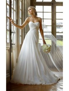 Sweetheart Neckline Chiffon Beach Wedding Dress