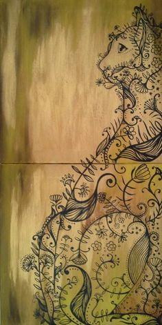 Hide and seek -acrylic on canvas -17'x34' -$99 -worldwide shipping
