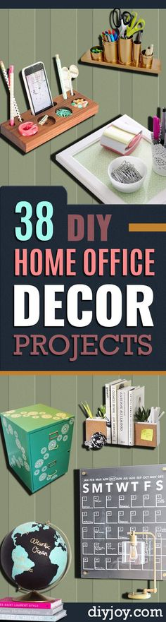DIY Home Office Decor Ideas -   Do It Yourself Desks, Tables, Wall Art, Chairs, Rugs, Seating and Desk Accessories for Your Home Office http://diyjoy.com/diy-home-office-decor
