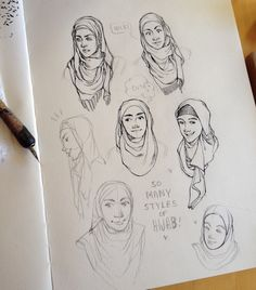 I was interested in drawing a Muslim chick wearing a hijab so I started looking up tutorials on how to wrap a hijab and omygod  I was totally unaware of the fact that there's so many different styles of wrapping and god it's so fucking beautiful The way people came up with different folds that look so pleasing to the eye, it's fantastic.  Haha so here's my drawings of different hijab wrapping styles I found on Internet, the finished inkwork is on my Instagram (@hjeojeo), I think I'm going…