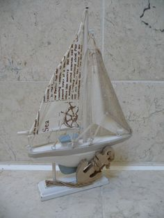 #Seaside nautical #shabby chic wooden #sailing boat bathroom ornament rustic new ,  View more on the LINK: http://www.zeppy.io/product/gb/2/132072110833/