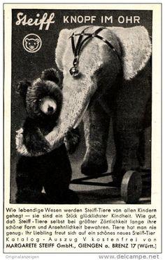Original-Werbung/ Anzeige 1935 - MARKE STEIFF / KNOPF IM OHR / GIENGEN AN DER BRENZ -  ca. 65 x 110 mm