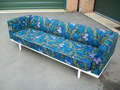 Genuine Vintage Mid Century Metal Daybed Sofa Fab 60's 70's original fabric | eBay