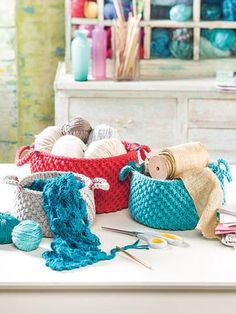 """Use up your yarn stash to make some practical and pretty baskets that will help organize clutter in any room. Baskets are made holding 2 strands of worsted- #4 weight yarn together. Size: Small--6"""" W x 4 1/2"""" T; Medium--7""""W x 5 1/2""""T; Large--8""""W x 6 1/2""""T.  Skill Level: Easy  http://www.maggiescrochet.com/products/stash-baskets"""