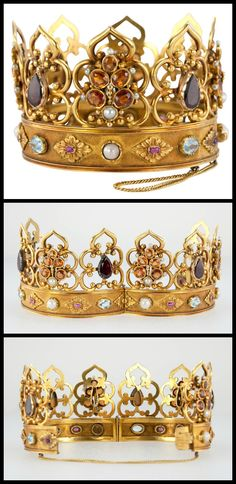 "An interesting and unique antique Victorian ""crown"" bangle bracelet in 18 karat yellow gold and decorated with garnets, aquamarines, and pearls. Circa 1890s. (Via 1stdibs.)"