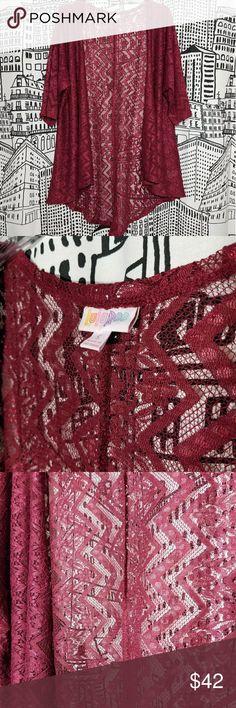NWOT LuLaRoe Lindsay Kimono Maroon lace Floral / Chevron LuLaRoe Sweaters Cardigans