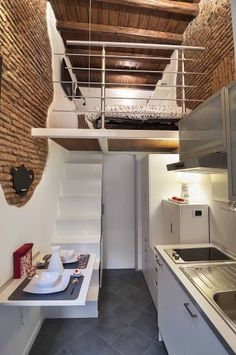 With only 75 sq.ft of space, this home manages to offer all the comforts of a traditional home with a full kitchen, bathroom, bedroom loft and dining area. The fact that it is steps from Saint Peters Square in Rome is just an added bonus! #tinyhouses