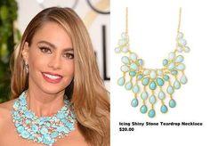 SOFIA VERGARA FASHION JEWELRY PICS  | Sofia Vergara in a Lorraine Schwartz Blue Stone Necklace with Diamonds