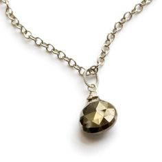 Pyrite pear necklace by Christine Aiko Beck / Aiko Designs