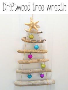 Instead of a traditional wreath - love this driftwood christmas tree!  #christmas #christmasdecor #wreath #diy