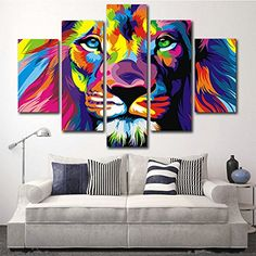 hcozy H.Cozy 5 Piece Original Animal Oil Painting Pictures Art Print on The Canvas, Wall Decor, Home Wall Art Picture,Color, Lion King (No Frame) Unframed 50 inch inch. Oil Painting Pictures, Wall Art Pictures, Pictures To Paint, Lion Pictures, Canvas Wall Decor, Diy Wall Art, Home Wall Art, Canvas Frame, Canvas Size