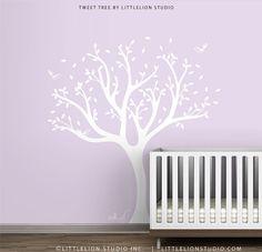White Tweet Tree Wall Decal by LittleLion Studio