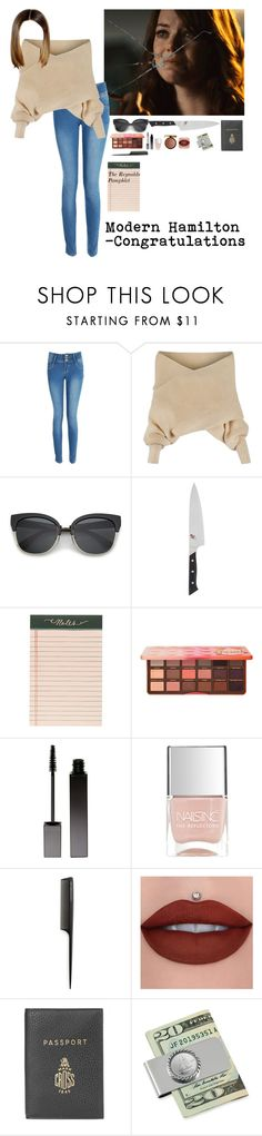 """""""Modern Hamilton- Congratulations"""" by missplayer ❤ liked on Polyvore featuring Boohoo, WithChic, Zwilling J.A. Henckels, Rifle Paper Co, Too Faced Cosmetics, Serge Lutens, Nails Inc., GHD, Physicians Formula and Mark Cross"""