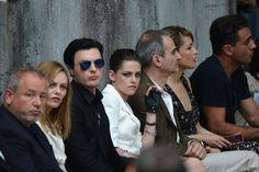 A guest, Vanessa Paradis, Michael Pitt, Kristen Stewart, Olivier Assayas, Rose Byrne and Bobby Cannavale attend the Chanel show as part of Paris Fashion Week Haute-Couture Fall/Winter 2013-2014 at Grand Palais on July 2, 2013 in Paris, France.
