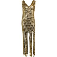 1960s Gold Paillette Chain Linked Gown | From a collection of rare vintage evening dresses at http://www.1stdibs.com/fashion/clothing/evening-dresses/