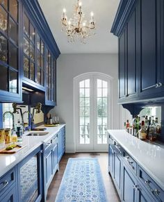 Modern French Country, French Country Kitchens, French Country House, French Country Decorating, Rustic French, French Cottage, Blue Country Kitchen, Country Kitchen Cabinets, European House